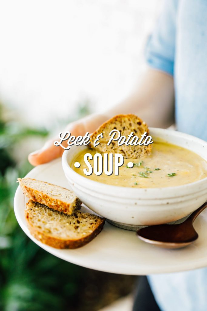 This leek and potato soup is a classic, hearty vegetable based soup. Serve the soup as a meal, or paired with sandwiches, crackers, or a salad.