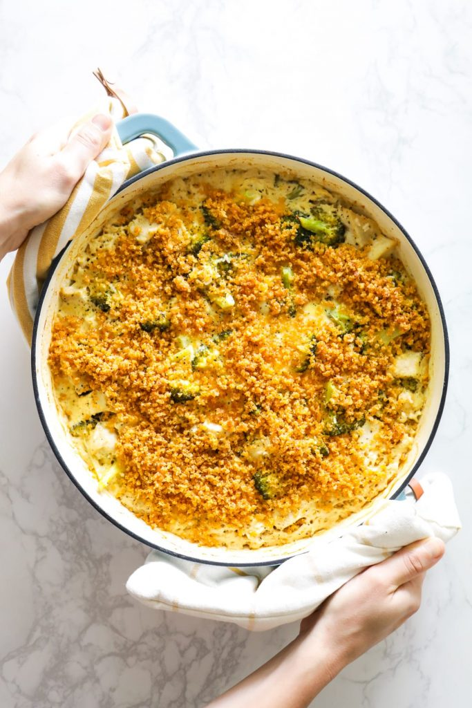 A one-pot chicken, rice, and broccoli casserole baked in a homemade alfredo sauce. Easy, no packaged/fake ingredients, boxes, or processed foods. Just simple, real food ingredients. The best homemade chicken and rice casserole.