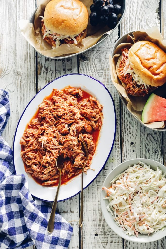 This amazing BBQ pulled chicken recipe takes advantage of the hands-off nature of the Instant Pot to perfectly cook the chicken. This means you don't have to turn on the oven or even light the grill.