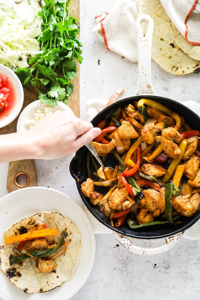 One-Skillet Sizzling Chicken Veggie Fajitas (Meal Prep Option)
