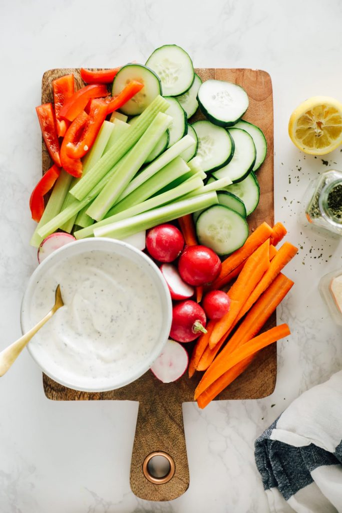 This dressing, or dip, is made with the simplest of ingredients: sour cream, kefir, fresh lemon juice, and seasonings. It takes only five minutes to whisk the ingredients together and make the best ranch dressing.