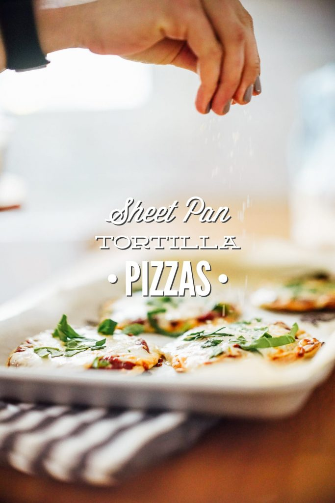 Super easy homemade pizzas made with homemade einkorn tortillas. The tortillas are freezer-friendly and taste amazing as pizza crust.