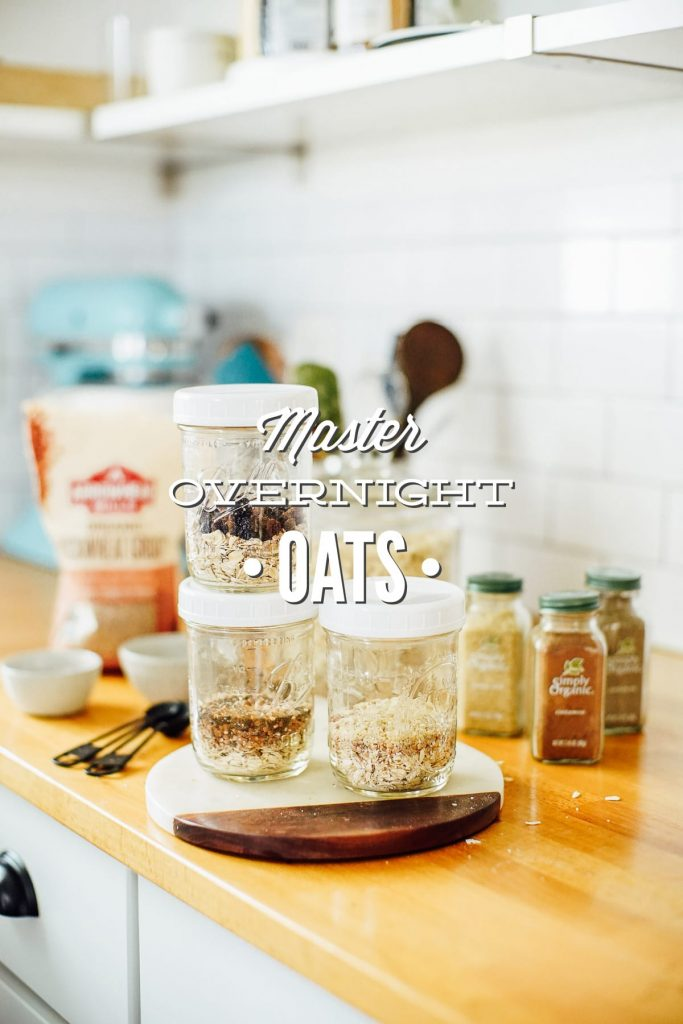 A master overnight oats recipe with multiple possibilities. Make the base recipe and then customize the recipe to your liking. Easy homemade overnight oats.