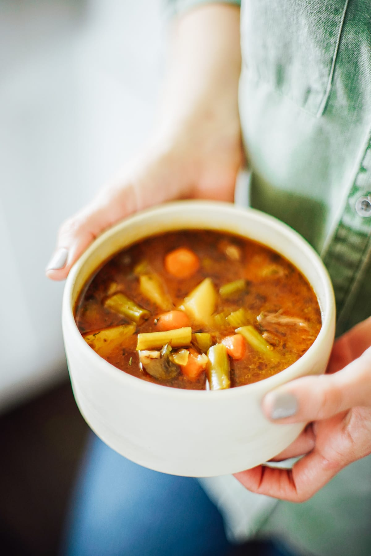A hearty beef stew with loads of vegetables. This stew is made in the Instant Pot (or electric pressure cooker of choice).