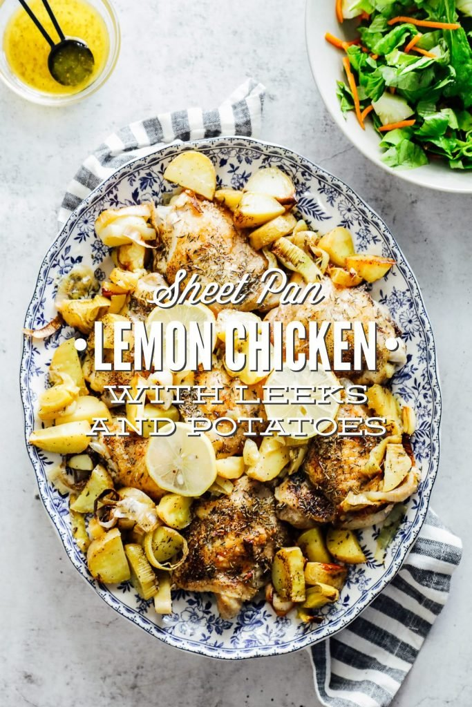 An easy-to-make sheet pan meal made with the simplest of ingredients: chicken thighs, leeks, potatoes, garlic, lemon, and seasonings.