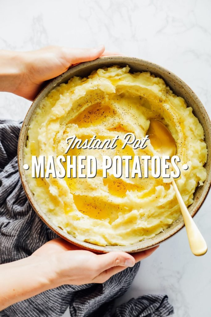 Super easy, one-pot, no-drain Instant Pot mashed potatoes. The easiest potatoes you'll ever make.