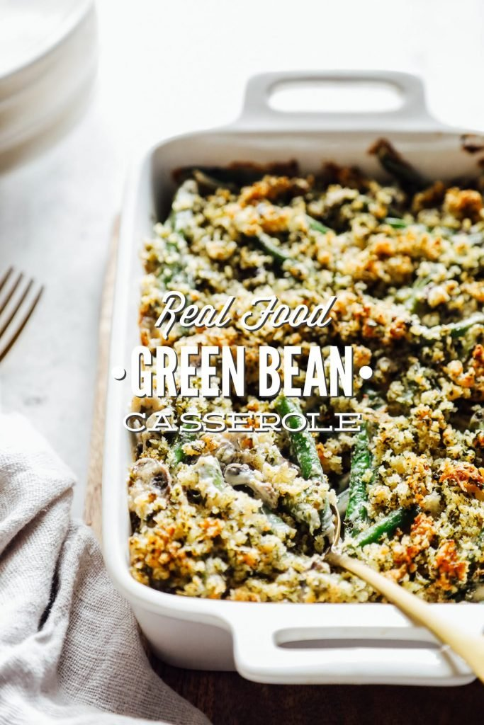 A homemade, real food version of green bean casserole. Made with sour cream in place of condensed soup.