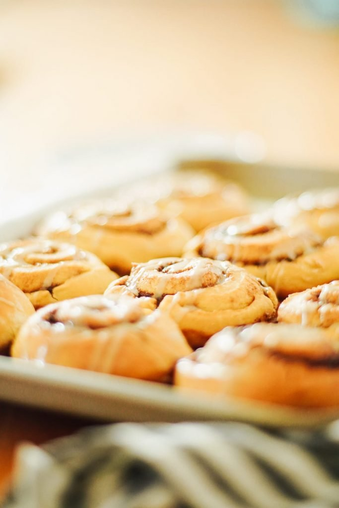 An easy, one-bowl, no-knead cinnamon roll recipe made with ancient einkorn flour.