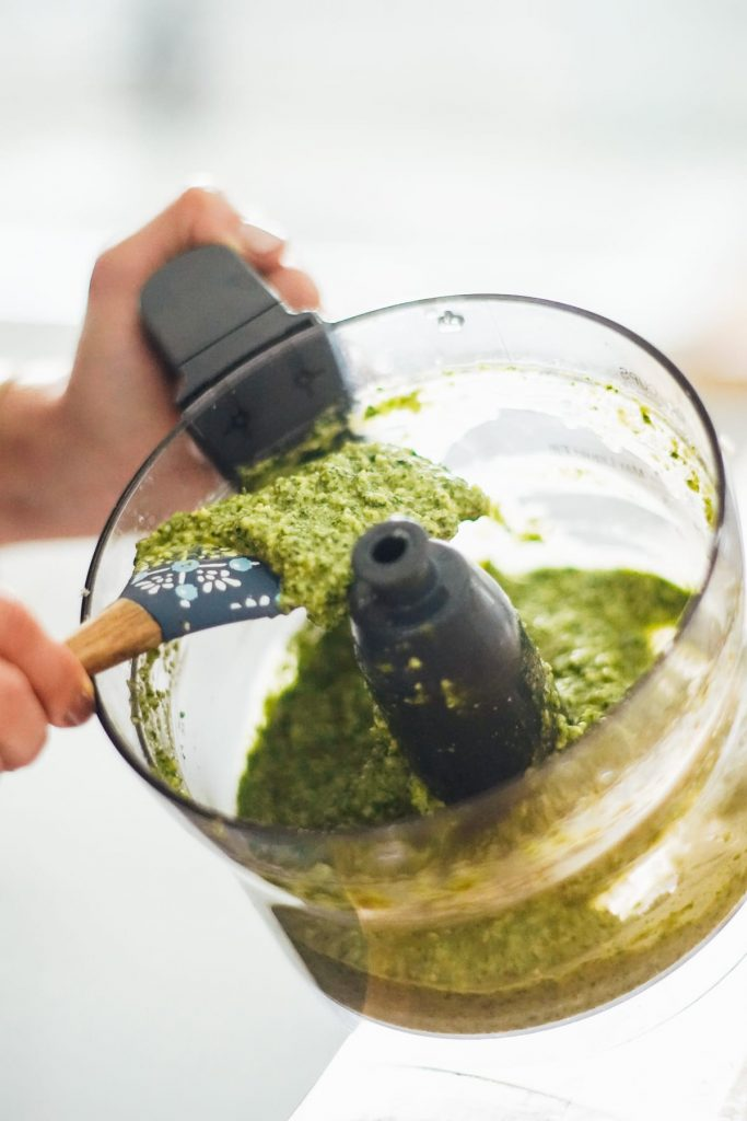 This pea shoot and pumpkin seed pesto is a unique twist on traditional basil pesto. It's nut-free and basil-free pesto and is so delicious.