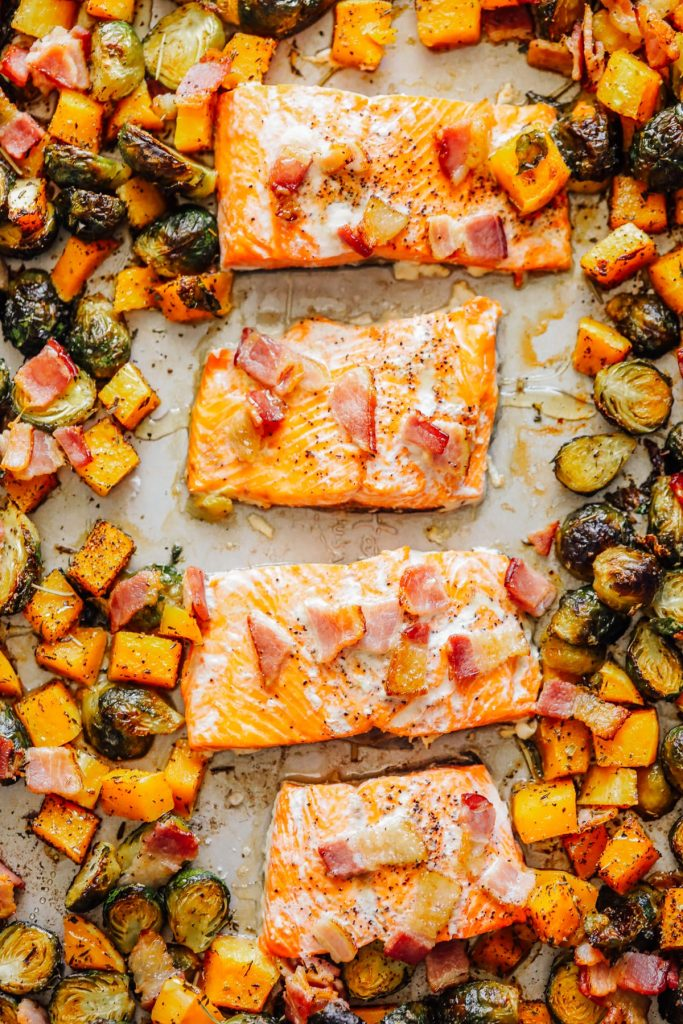 Sheet Pan Salmon with Brussels and Butternut Squash