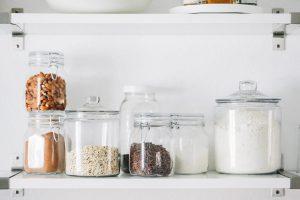 Pantry Items: Einkorn Flour stored in glass jar