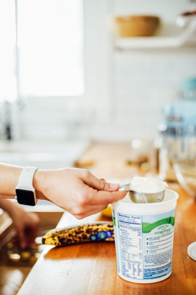 Adding yogurt to the almond flour batter