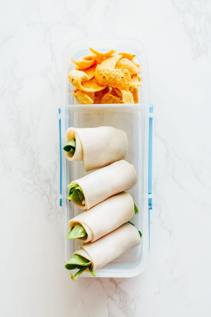 healthy kids school snack ideas: lunch meat rolled up with spinach for school snack