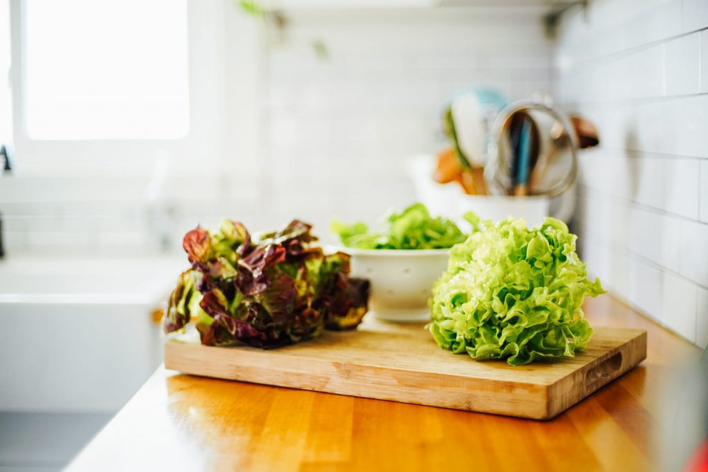 fresh lettuce, in the beginning focus on fresh ingredients instead of buying organic