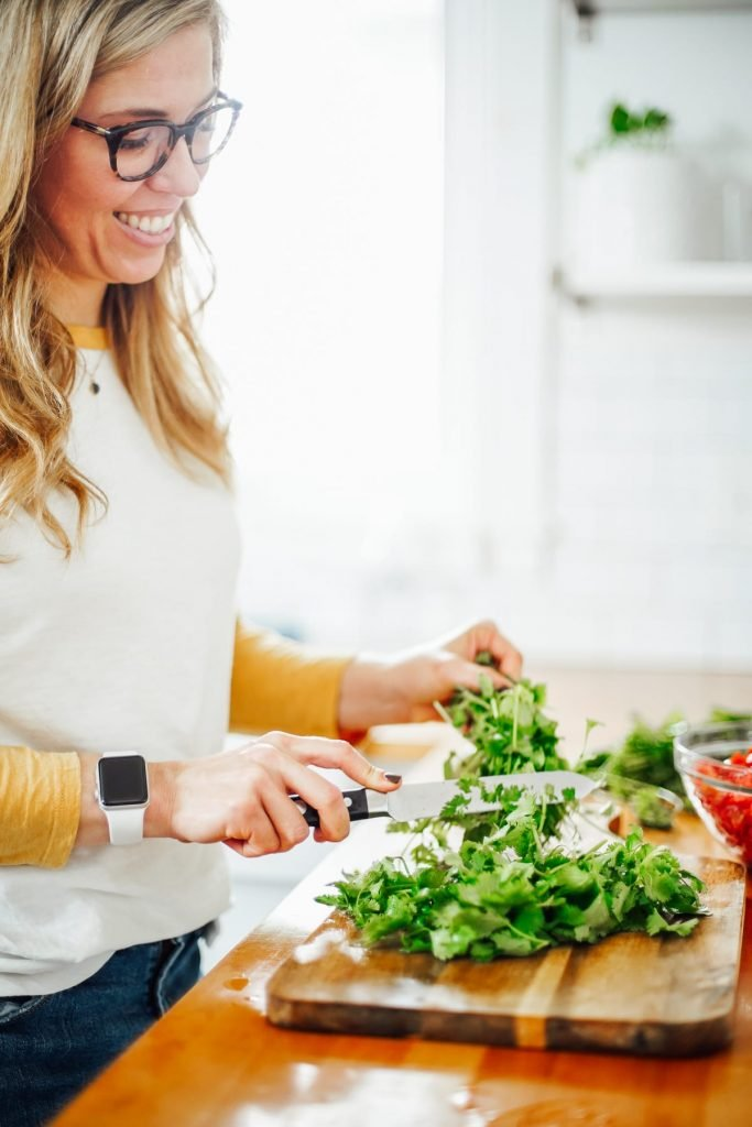chopping cilantro