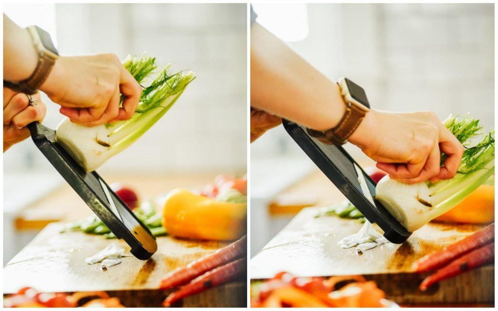 using a mandoline to cut veggies
