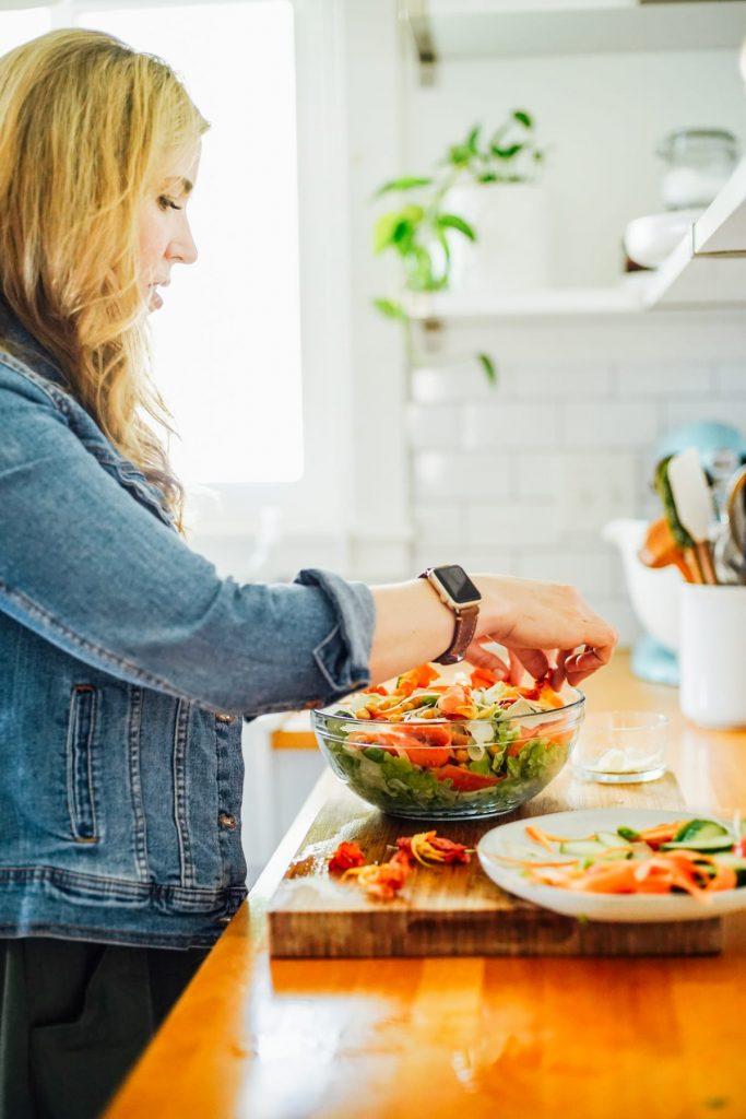 assembling a salad