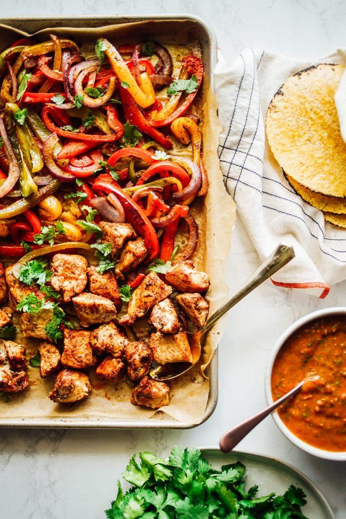 chicken and veggie fajitas