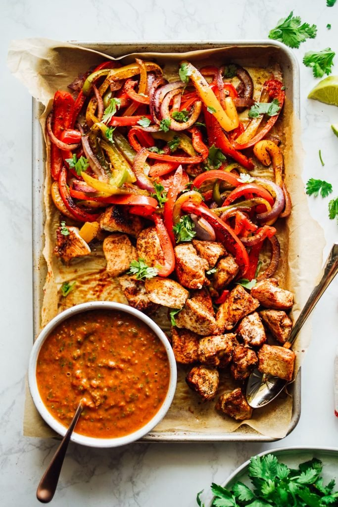 chicken fajitas with homemade salsa