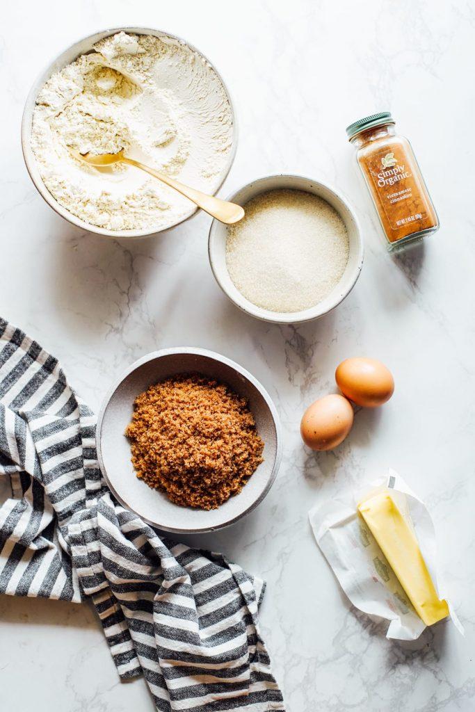 einkorn and ingredients to make snickerdoodle cookies