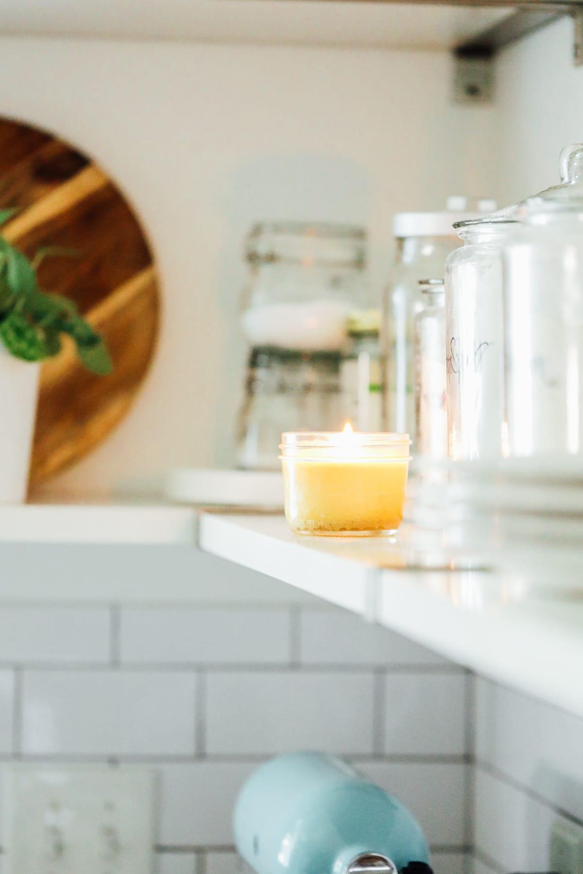 homemade candle on a shelf