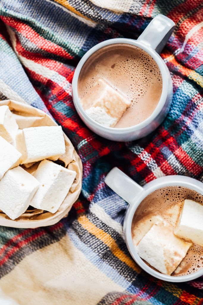 enjoying with hot cocoa