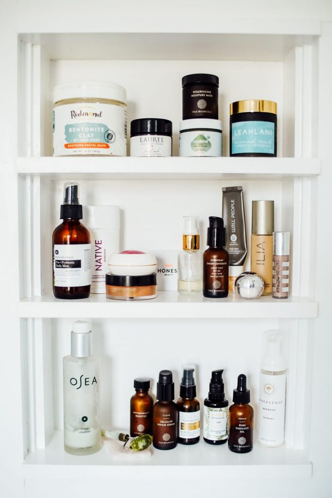 beauty products in a cabinet