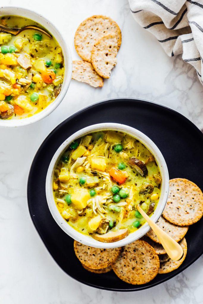Turmeric Chicken Pot Pie Soup