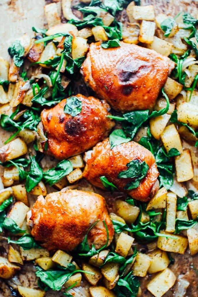 Sheet Pan Meal: Honey Mustard Chicken, Potatoes, and Spinach