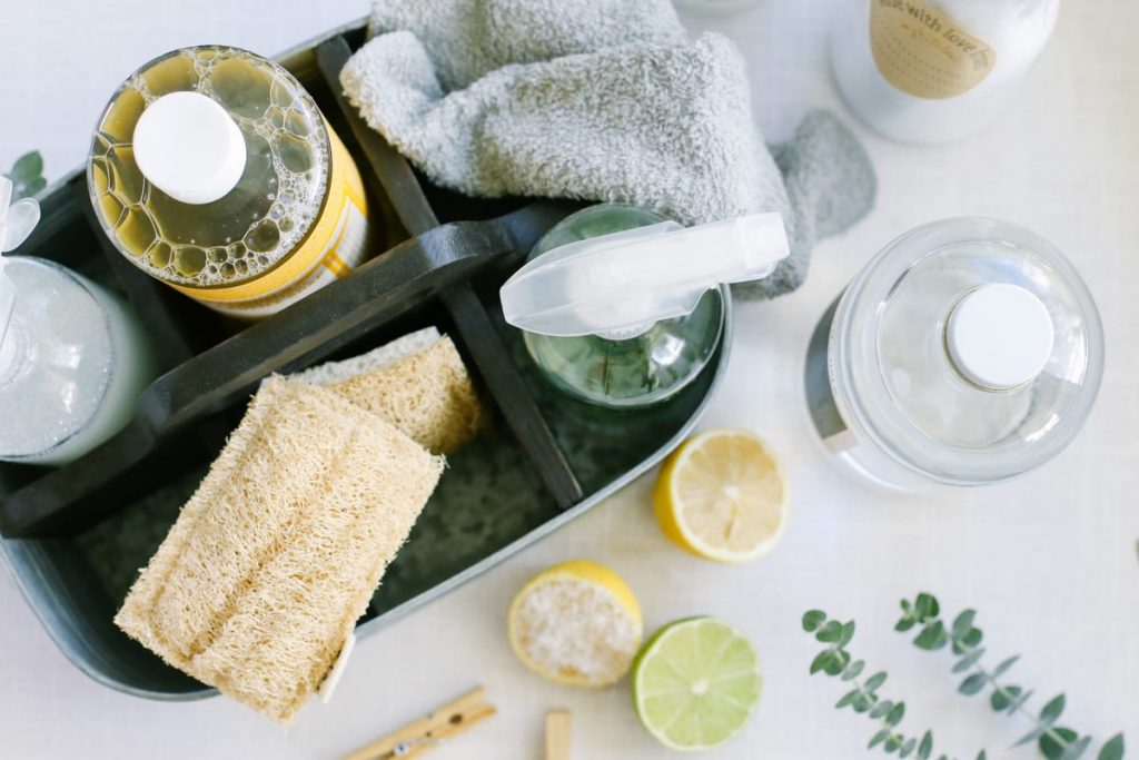 cleaning ingredients in a cleaning caddy