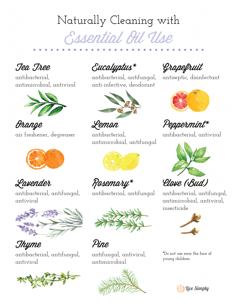 essential oil cleaning chart