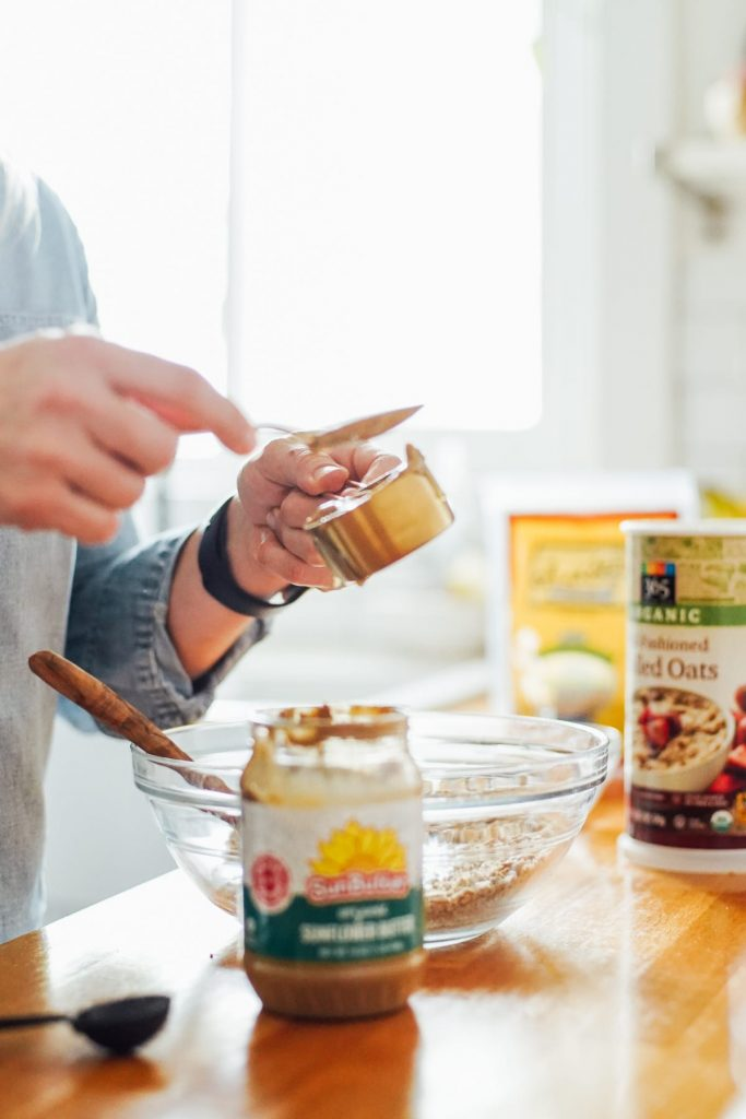 adding sunflower butter to the energy bite mixture