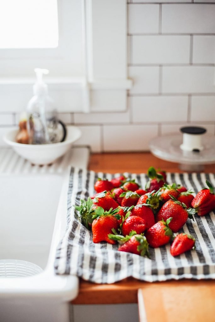 Berries drying on counter