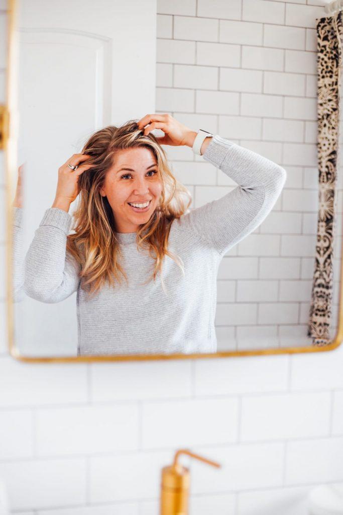 massaging hair scalp