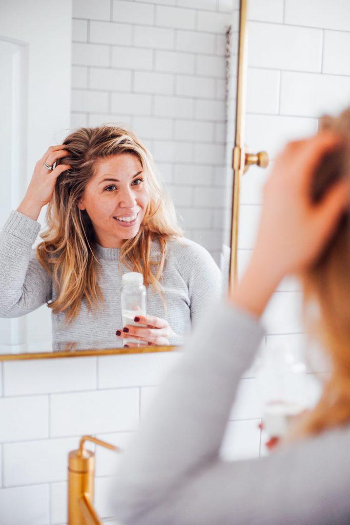applying shampoo to the hair