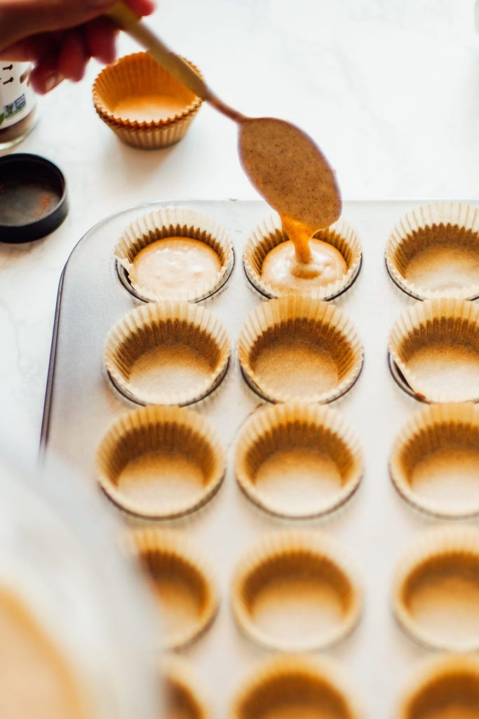 baking pancake batter in muffin tin