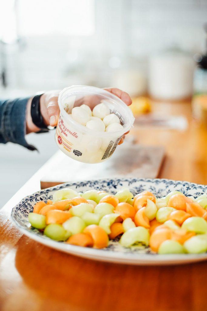 Mozzarella balls for melon salad