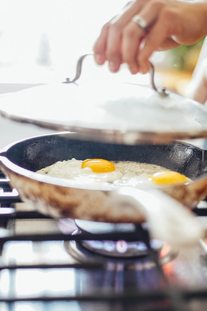 sunny side up eggs in non stick skillet